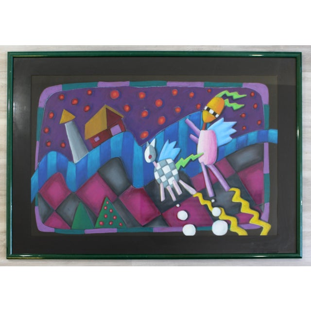 Contemporary Modern Memphis Style Framed Pastel Art Unsigned 1970s 1980s For Sale - Image 4 of 4