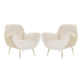 Italian Club Chairs in Ivory by Gigi Radice for Minotti, 24k Gold Edition - Pair