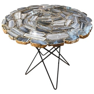 Agate Side Table With Steel Base For Sale