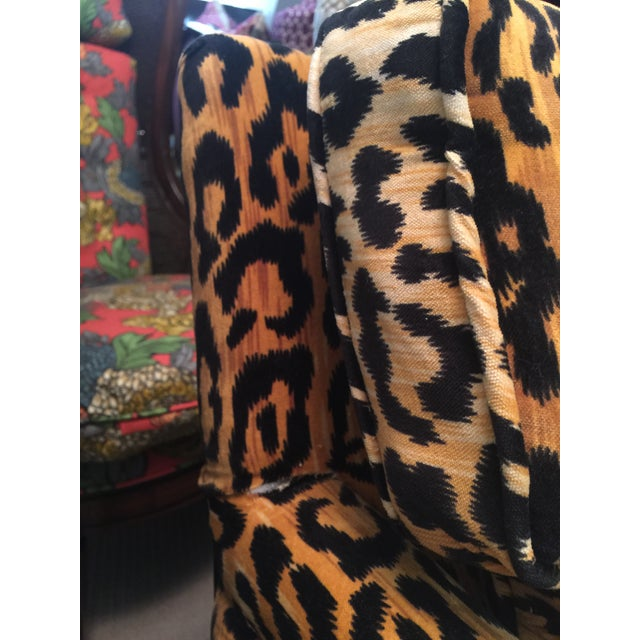 Orange Mid-Century Leopard Baughman Style Parsons Chair For Sale - Image 8 of 10