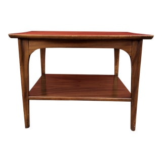 1960s Mid Century Modern Walnut and Rosewood 2-Tier End Table For Sale