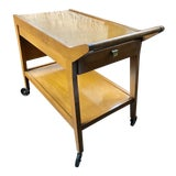 Image of Mid-Century Walnut Bar Cart For Sale