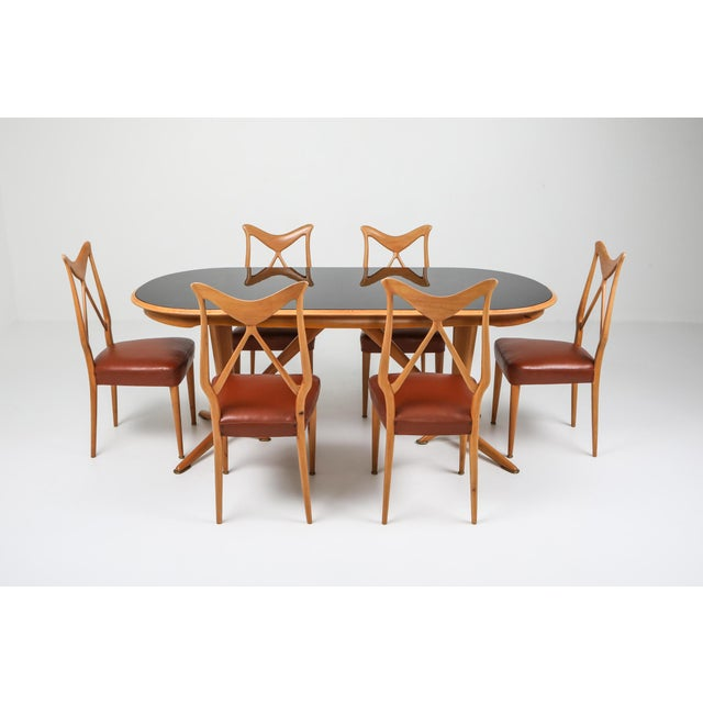 1970s 1970s Oak & Leather Dining Chairs in the Style of Ponti - Set of 6 For Sale - Image 5 of 12