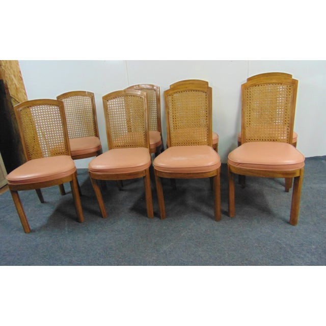 Wood Drexel Mid Century Modern Fruitwood Caned Dining Chairs - Set of 8 For Sale - Image 7 of 7
