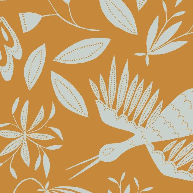 Transitional Julia Kipling Otomi Grand Wallpaper, 3 Yards, Nutmeg Sea For Sale - Image 3 of 3