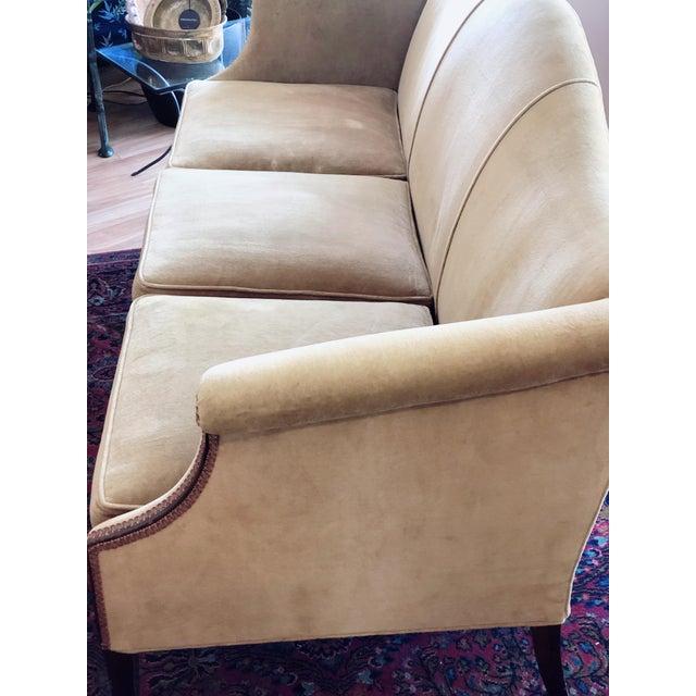 1960s Vintage Tobacco Color Velvet Camel Back Sofa For Sale - Image 5 of 10