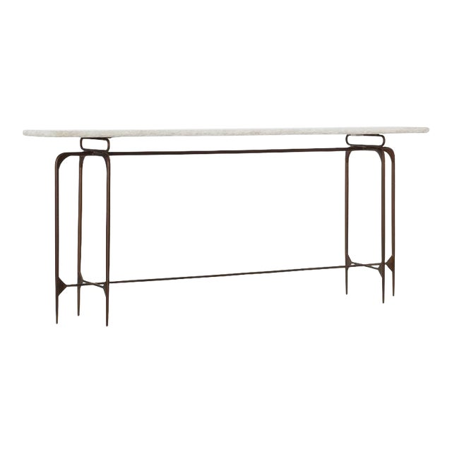 Transitional Iron Console With Marble Top For Sale