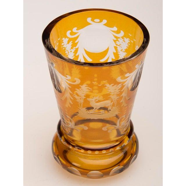 Vintage English Bohemian Cut Glass Amber Vase circa 1950 - Image 3 of 7