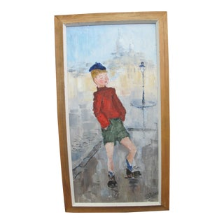 "Signed J Robert ""Young Blonde Boy in Paris Smoking"" Framed Original Painting For Sale"