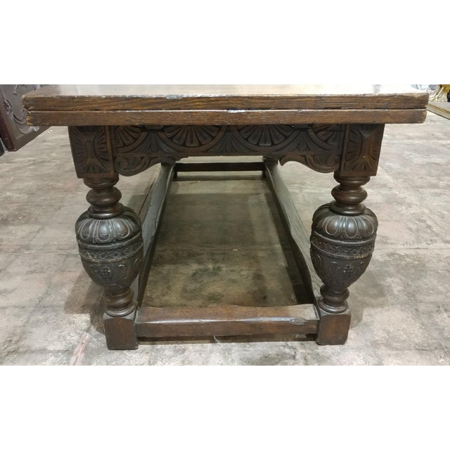 18th Century English Oak Jacobean Style Draw Leaf Refectory Table Size For Sale In Los Angeles - Image 6 of 10
