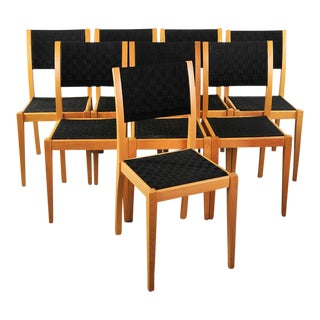 Mid-Century Italian Woven Seat Dining Chairs - Set of 8 For Sale