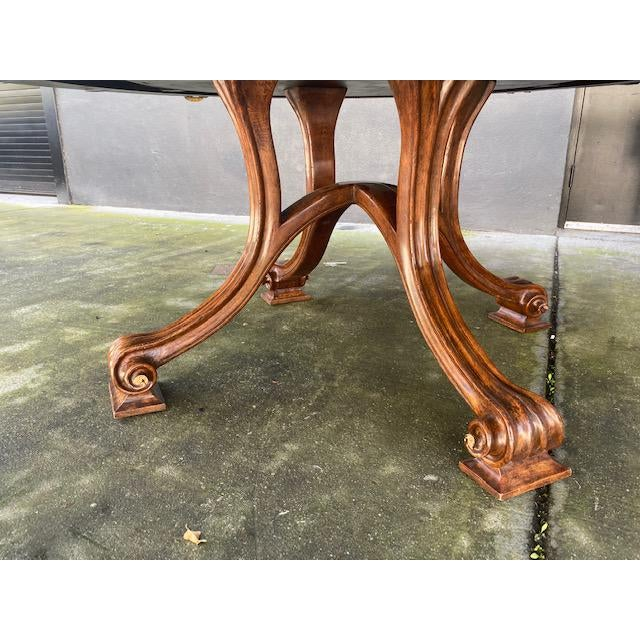 Wood 1970s Thierin Round Dining Table With Leaves For Sale - Image 7 of 13