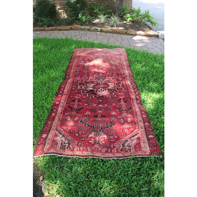 Antique 4 X 8 Red Pink and Brown Hand Knotted Wool Runner Rug For Sale In Houston - Image 6 of 7