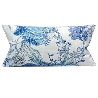 "Vecchio Spa Lumbar Blue Botanical Decorative Lumbar Pillow Cover - 11"" x 21"" For Sale"