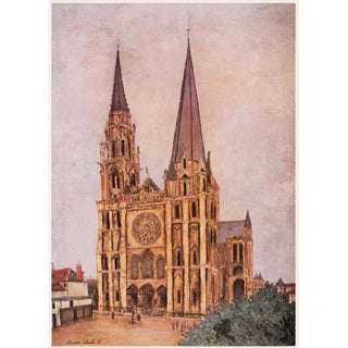 """1950s Maurice Utrillo """"Paris, Chartres Cathedral"""", First Edition Impressionist Lithograph For Sale"""