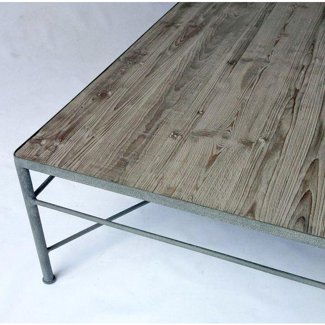 Wood Cocktail Table With Iron Frame - Image 2 of 4