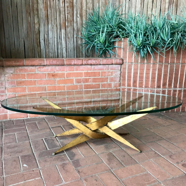 Metal 1960s Silas Seandel Brutalist Gold Metal + Glass Coffee Table For Sale - Image 7 of 7