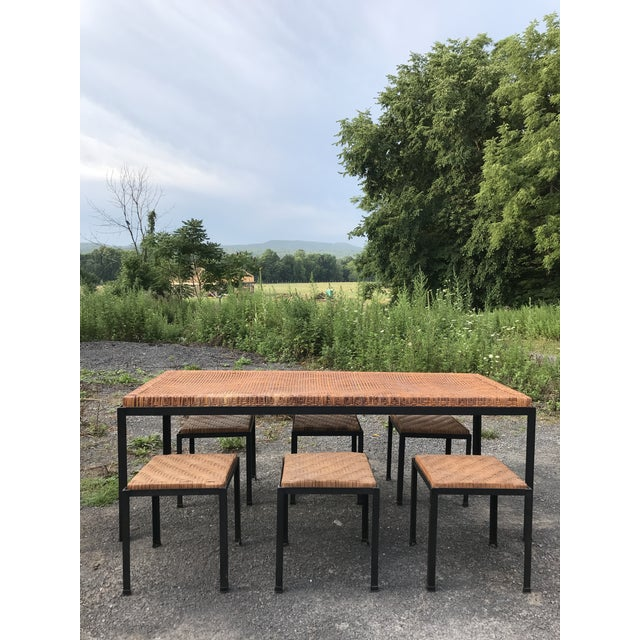 Danny Ho Fong Iron and Reed Dining Table With Six Stools for Tropi-Cal For Sale - Image 13 of 13