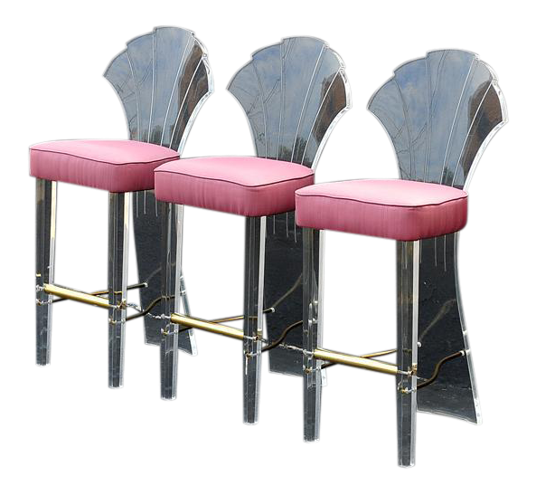 Hill Manufacture Lucite Scalloped Shell Back Bar Stools