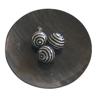 Large Dark Grey Marble Bowl With Decorative Ceramic Spheres For Sale