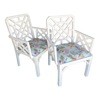 Vintage Chinoiserie Fretwork Chippendale Arm Chairs-Pair For Sale
