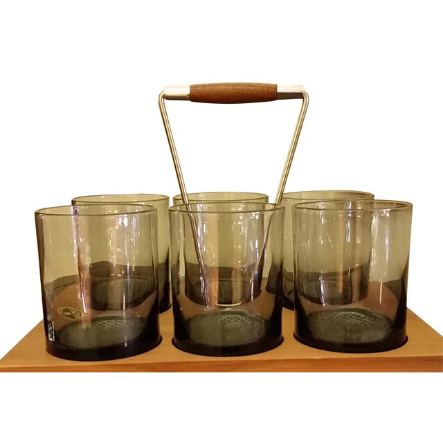 Mid-Century Modern Mid-Century Caddy & Old Fashioned Glasses - Set of 6 For Sale - Image 3 of 8