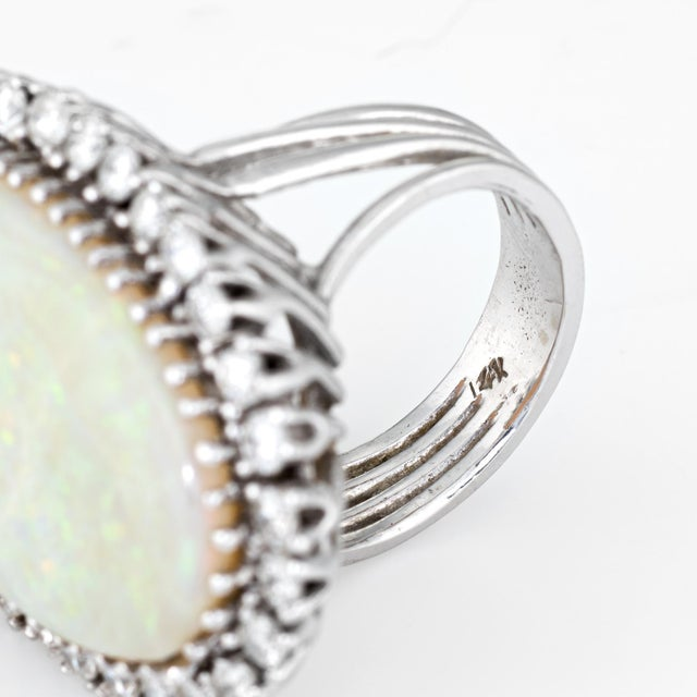 Metal Opal Diamond Ring Vintage 14 Karat Gold Big Oval Cocktail Estate Fine Jewelry For Sale - Image 7 of 8
