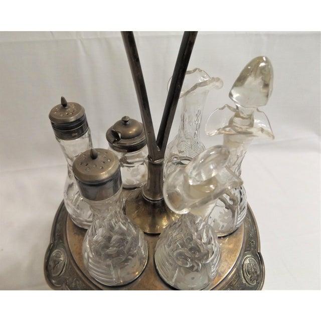 Art Nouveau Antique Cruet Condement Server Set by Manhattan Plate Co. & Hand Blown Glass Vessels For Sale - Image 3 of 13