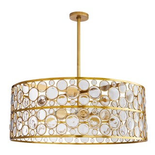 Arteriors Modern Geometric Glass and Brass Round Tripoli Chandelier For Sale