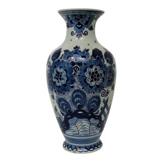 Tall Delft Porcelain Vase For Sale
