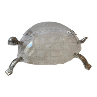 1970s Arthur Court Aluminum and Lucite Turtle Covered Tray For Sale
