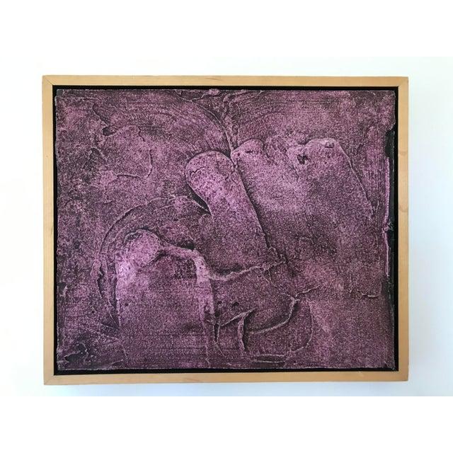 Vintage Mid-Century Modern Purple Abstract Plaster Wall Art Artwork Amazing Find Wonderful Mid-Century Pottery Excellent...