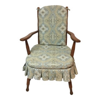 "Vintage Upholstered and Skirted Wooden Accent ""Cricket Chair"""