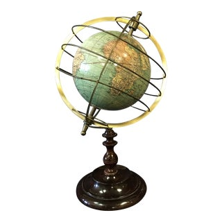 Small Metal Caged World Globe on Wooden Base For Sale