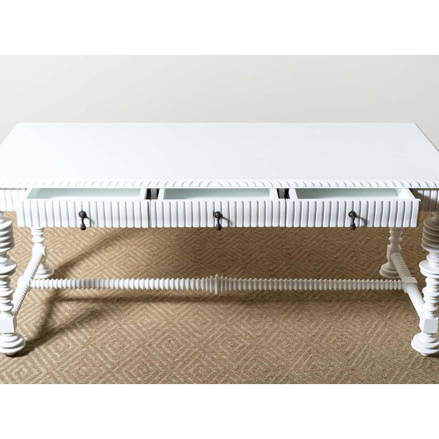 Modern Spool Turned Portugese Desk For Sale - Image 4 of 6