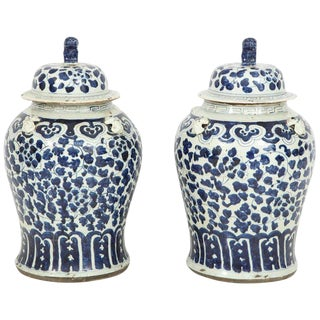 1960s Chinese Export Jars With Lids - a Pair For Sale