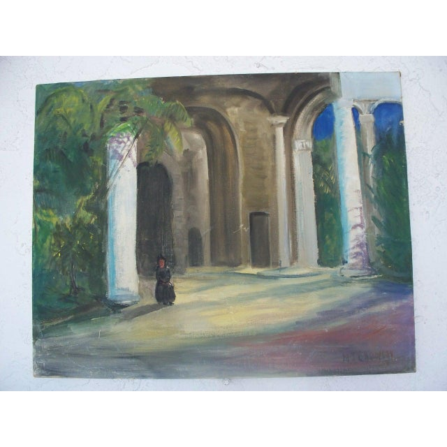 Contemporary Dark Figure by a Church in Havana Signed Oil Painting - Image 3 of 6