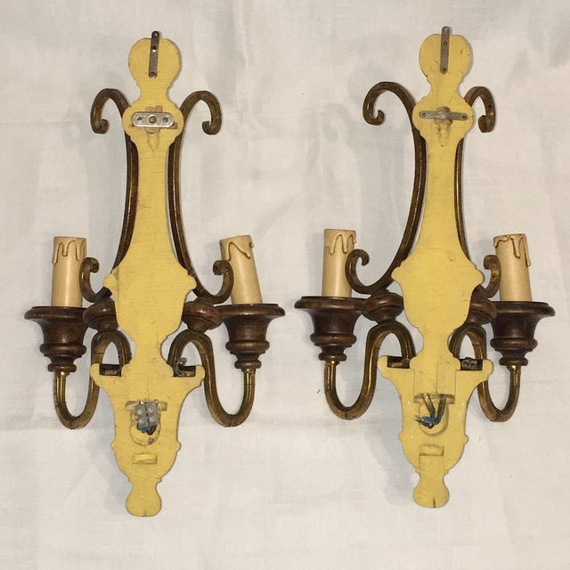 Wood and Gilded Metal Shabby Chic Sconces - A Pair - Image 5 of 5