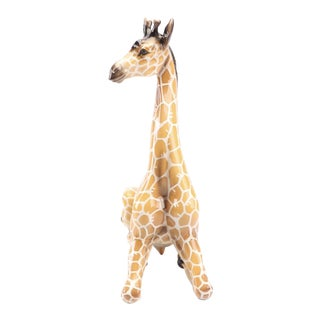 Italian Ceramic Kneeling Giraffe Figurine For Sale