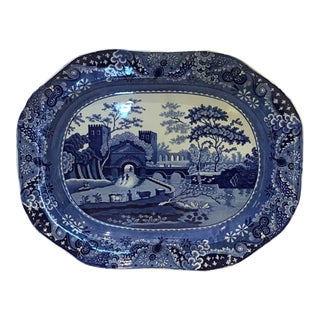 19th Century English Blue and White Transferware Plate For Sale