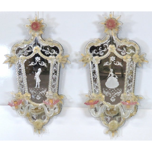 Antique Venetian Glass Mirrored Sconces - A Pair - Image 3 of 7