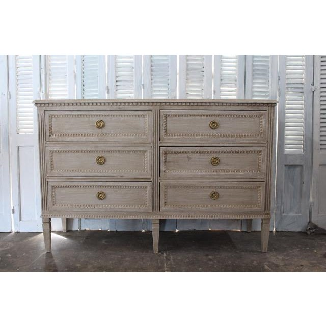 Gold 20th Century Swedish Gray Finish Chest of Drawers For Sale - Image 8 of 8