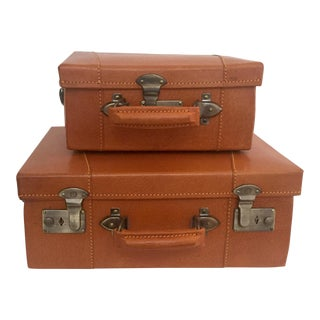 Vintage Leather Child Sized Luggage - A Pair