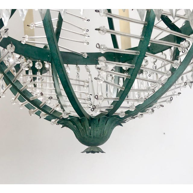 Baltic Metal and Crystal 6 Light Chandelier, Sweden Circa 1920 For Sale In San Francisco - Image 6 of 7
