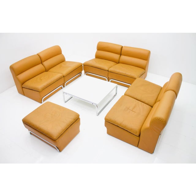 1970s Modular Seating Group & Coffee Table Leather Sofa by Horst Brüning for Kill 1970 For Sale - Image 5 of 12