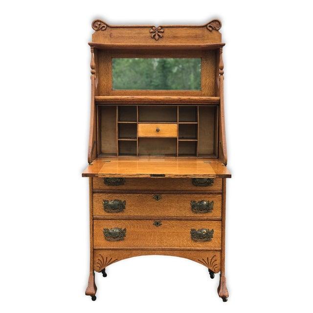 Antique Larkin Style Tiger Oak Drop Front Secretary Desk - Image 3 of 8 - Antique Larkin Style Tiger Oak Drop Front Secretary Desk Chairish