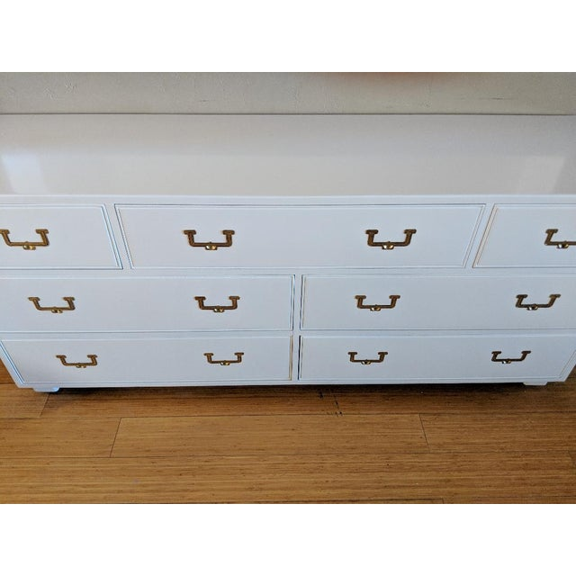 Campaign 1960s Campaign Henredon High Gloss White Dresser Credenza Buffet For Sale - Image 3 of 12