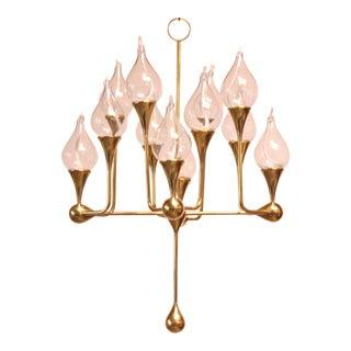 West German Brass and Glass Oil Lamp Candelabra by Freddie Andersen