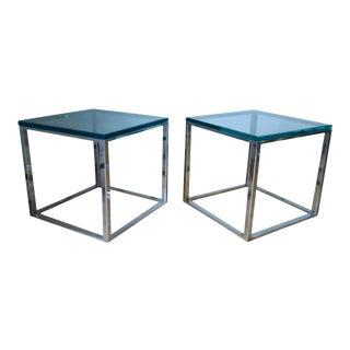 Milo Baughman Style Mid-Century Side Tables - A Pair