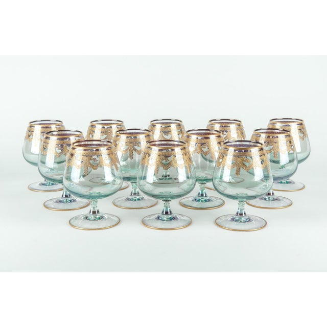 Crystal Vintage Murano Crystal Brandy / Snifter Set 12 Pieces For Sale - Image 7 of 7
